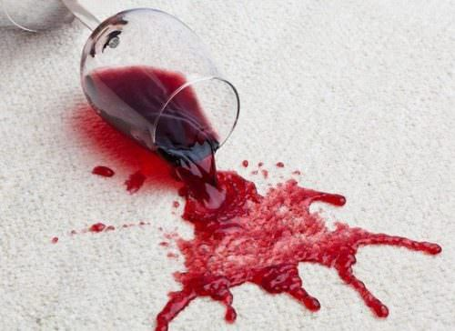 spilt red wine glass