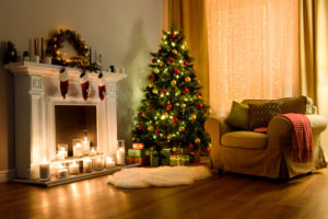 A cosy festive living room with Christmas decorations