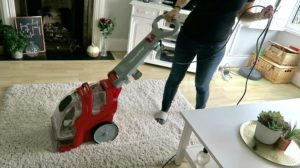 Cleaning the floor with the Rug Doctor Deep Carpet Cleaner