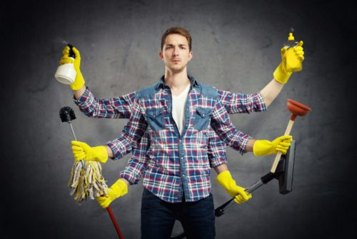 Multi-Armed Man Cleaning
